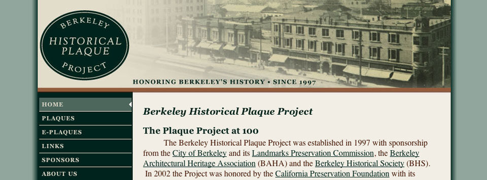 Logo and Website Design: Berkeley Historical Plaque Project